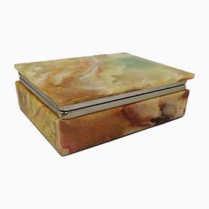 Caja italiana vintage de alabastro verde, años 60