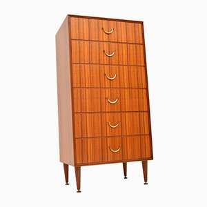 Vintage Tallboy Chest of Drawers in Tola & Brass, 1950s