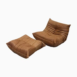 Vintage Tobacco Brown Togo Lounge Chair & Ottoman Set by Michel Ducaroy for Ligne Roset, 1973, Set of 2