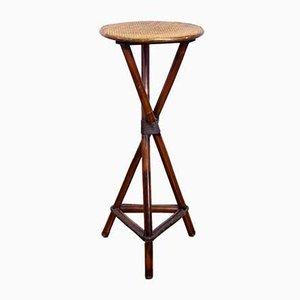 Rattan Plant Pedestal Table, 1950s