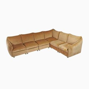 Vintage Smooth Camel-Colored Velvet Sofa with Plastic Feet Attributed to Cassina, 1970s, Set of 6