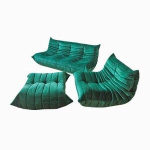 Set de Canapé Togo Vintage Vert en Velours par Michel Ducaroy pour Ligne Roset, France, Set de 3
