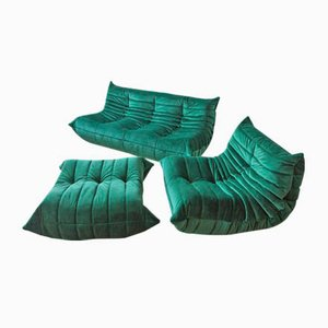 Vintage French Bottle Green Velvet Togo Living Room Set by Michel Ducaroy for Ligne Roset, Set of 3