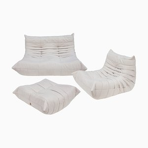 Vintage French White Microfiber Togo Living Room Set by Michel Ducaroy for Ligne Roset, Set of 3