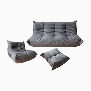 Vintage French Grey Microfiber Togo Living Room Set by Michel Ducaroy for Ligne Roset, Set of 3