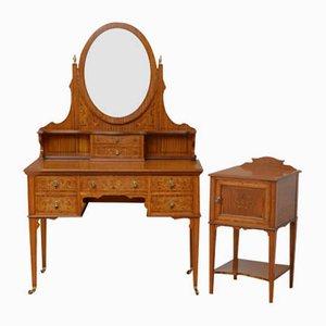 Coiffeuse Antique Édouardienne en Bois de Satin avec Table de Chevet, Set de 2