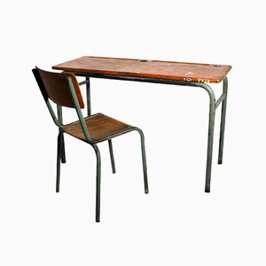 Vintage Industrial Style Desk and Chair, 1940s, Set of 2