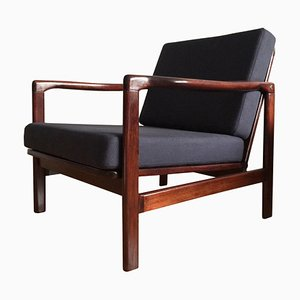 Dark Blue Linen Lounge Armchair by Zenon Bączyk for Swarzędzkie Furniture Factory, 1960s