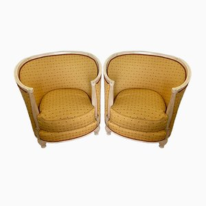Art Deco Yellow Gondola Armchairs, 1930s, Set of 2