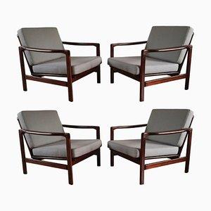 Mid-Century Grey Armchairs by Zenon Bączyk for Swarzędzkie fabryki Mebli, 1960s, Set of 4