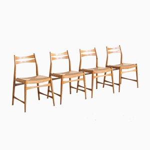 Dänische Rush Seat Esszimmerstühle, 1979, 4er Set