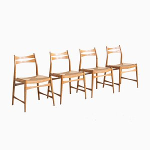 Danish Rush Seat Dining Chairs, 1979, Set of 4