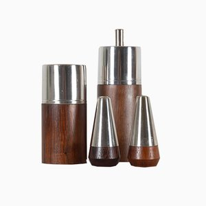 Vintage Danish Rosewood Salt & Pepper Set, 1960s, Set of 4