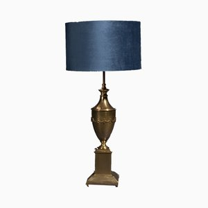 Brass Table Lamp with Blue Velvet Shade, 1970s