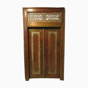 Antique Carved Teak Patinated Double Doors, 1900