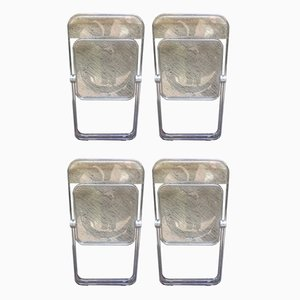 Transparent Plastic Plia Folding Chairs by Giancarlo Piretti for Castelli / Anonima Castelli, 1970s, Set of 4