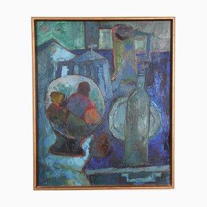 Bodegón de óleo sobre lienzo de André Pallier, años 50