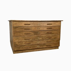 Large Mid-Century Oak Plan Chest with Inset Handles