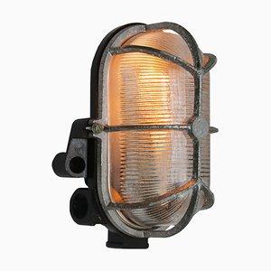 Lámpara de pared industrial vintage de vidrio y baquelita de Holophane