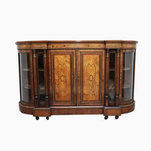 19th Century Burr Walnut Breakfront Credenza
