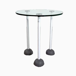 Postmodern Glass Side Table with Wheels, 1980s
