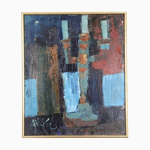 Still Life Oil on Canvas by André Pallier, 1960s