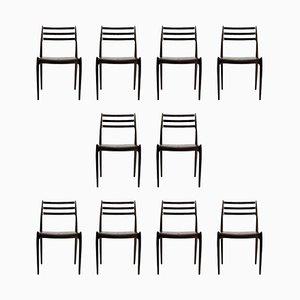 Chaises de Salon en Palissandre par Niels Otto Møller pour JL Møllers, 1950s, Set de 10