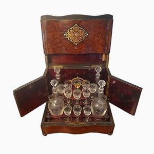 19th Century Napoleon III Thuja & Magnifying Glass Liquor Cellar Set
