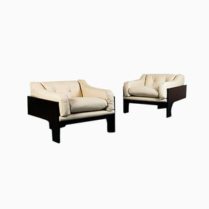 Rosewood & Leather Model Oriolo Lounge Chairs by Claudio Salocchi for Luigi Sormani, 1970s, Set of 2