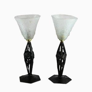 Lampes de Bureau Vintage Art Déco Pâte de Verre de Muller Frères, Set de 2