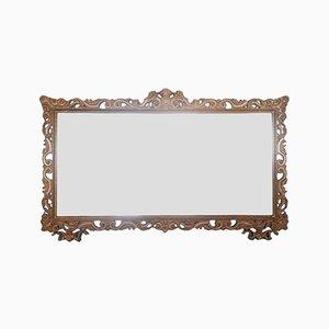 Specchio vintage in legno marrone, anni '50