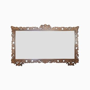Vintage Brown Wooden Mirror, 1950s