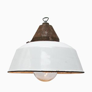 Lampe à Suspension Industrielle en Émail Blanc, Fonte et Verre, 1950s