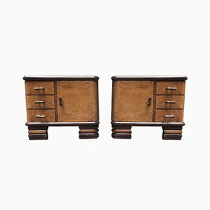 Art Deco Walnut Briarwood Nightstands, 1940s, Set of 2