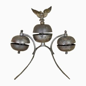 Antique German Carriage Sleigh Parade Show Horse Triple Bell with Eagle, 1880s