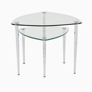 Tavolini vintage in metallo cromato e vetro, Italia, anni '60, set di 2