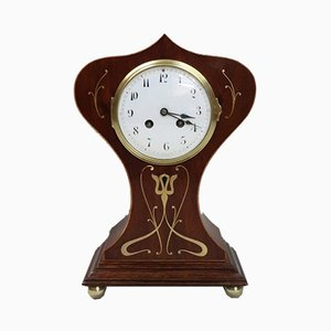 French Art Nouveau Mahogany Mantel Clock from Samuel Marti, 1890s