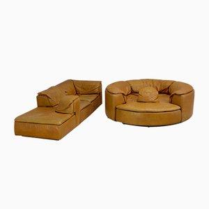 Sofá modular de cuero, años 70. Juego de 7