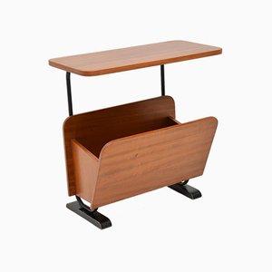 Vintage Walnut Side Table or Paper Rack, 1960s