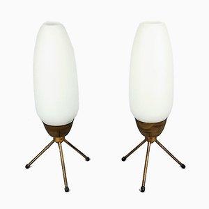 Vintage Tripod Table Lamps, 1960s, Set of 2