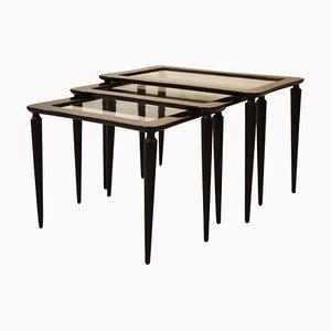 Tavolini da caffè nr. 401 in legno e vetro di Ico Luisa Parisi per De Baggis, anni '50, set di 3