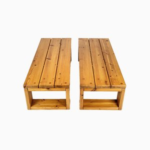 Swedish Solid Pine Benches by Roland Wilhelmsson, 1960s, Set of 2