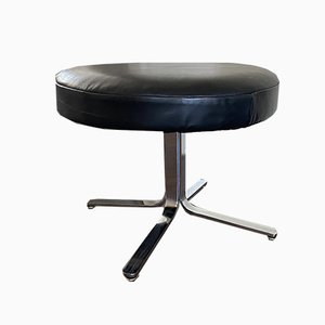 Vintage Modernist Chrome and Leather Stool Ottoman, 1970s