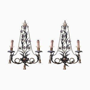 Vintage Iron and Crystal Sconces, 1980s, Set of 2