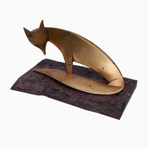 Brass and Ebony Decorative Statue of a Fox in the Style of Karl Hagenauer, 1940s