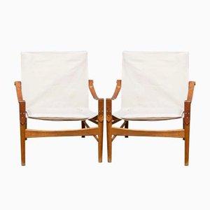 Mid-Century Swedish Oak and Canvas Safari Lounge Chairs by Hans Olsen for Viska Möbler, 1960s, Set of 2