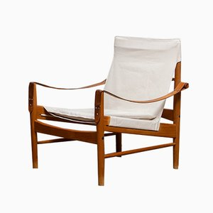 Mid-Century Oak and Canvas Safari Lounge Chair by Hans Olsen for Viska Möbler in Kinna, Sweden, 1960s