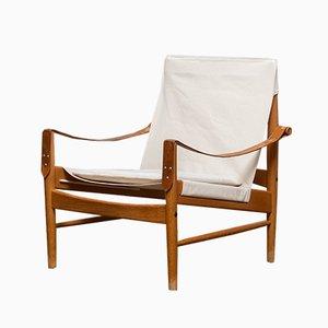 Mid-Century Oak and Canvas Safari Lounge Chair by Hans Olsen for Viska Möbler in Kinna, Sweden, 1960s
