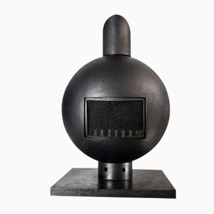Mid Century-Modern Brutalist Wrought Iron Spherical Fireplace by Dries Kreijkamp, 1960s