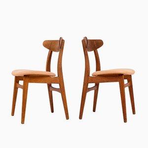 Chaises de Salon CH30 Mid-Century par Hans J. Wegner pour Carl Hansen & Søn, Danemark, 1960s, Set de 2